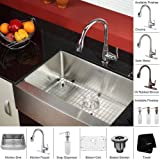 Kyпить Kraus KHF200-30-KPF2230-KSD30CH Farmhouse Single Bowl Stainless Steel Kitchen Sink with Faucet & Soap Dispenser на Amazon.com