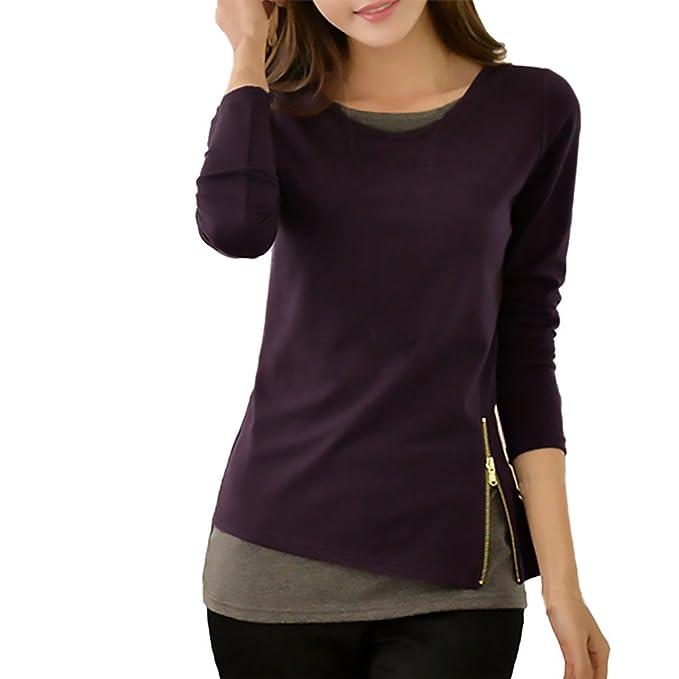 Mujer Camisetas Manga Larga Basicas Elegantes Falso 2 Piezas Blusas Otoño Invierno Cuello Redondo Patchwork Con
