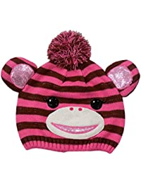 CP Girls Striped Pink & Brown Monkey Hat Critter Style Beanie Stocking Cap