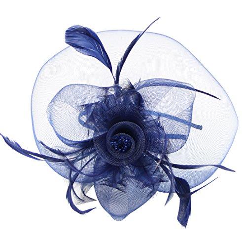 Bingo Lady Costume Halloween (Urban CoCo Women's Flower Mesh beaded Detachable Veil Fascinator Hair Clip Hat (Navy)