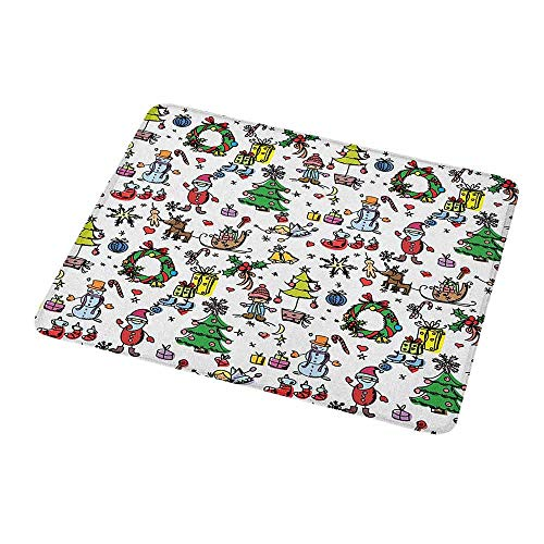 - Rectangle Mouse pad Doodle,Christmas Concepts Drawn in Cartoon Style Santa Snowman Children Presents Mistletoe,Waterproof Material Non-Slip Personalized Rectangle Mouse pad 9.8