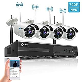 SmartSF 8CH 1080P NVR Outdoor Wireless Security Camera System Video Surveillance Recorder WiFi CCTV, 4Pcs 720P 1MP Weatherproof IP Camera,65ft IR Night Version,Remote Access,No Hard Disk