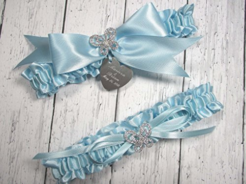 Butterfly Wedding Garter Set in Light Blue Satin with Rhinestone Butterflies and Personalized Engraving