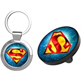 Car Phone Mount, Super Man [2 PACK] Magnetic Phone Car Mount Holder and Key Chain, Universal Air Vent Magnetic Car Mount For iPhone, Magnet Car Mount for Cell Phone With 4 Big Metal Plates
