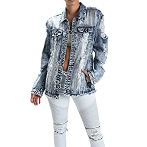 American Bazi G-Style USA Women's Destroyed Denim Jacket