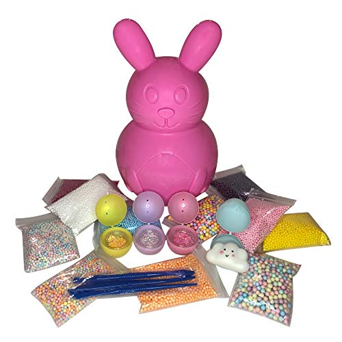 - Easter Slime Kit for Girls | Foam Beads for Slime 17 Pack | Surprise Egg Slime Supplies Kit - Include Pastel Colors Foam Balls, Confetti Flowers & Squishy + Slime Tools Set | Homemade Slime Art Craft