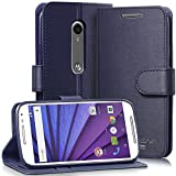 Vena for Motorola Moto G (3rd Gen, 2015) Wallet Case [vSuit] Draw Bench PU Leather Snap Case Cover with [Card Pockets] for Motorola Moto G (3rd Gen, 2015) (Oxford Blue)