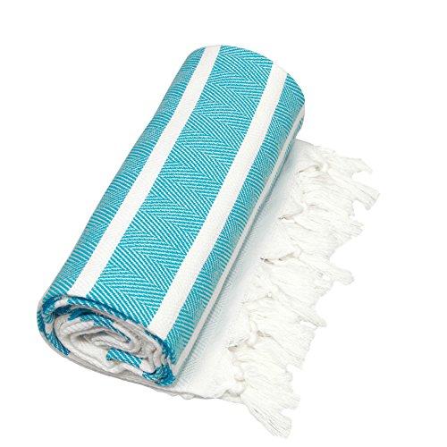 Linum Home Textiles Herringbone Striped Turkish Pestemal Tow