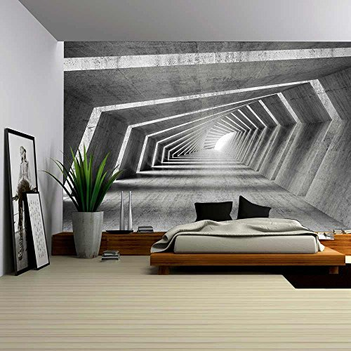 Cheap  wall26 - Abstract Illuminated Empty Bent Concrete Corridor Interior, 3d Render Illustration..