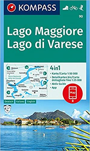 Amazon It Kompass Wanderkarte Lago Maggiore Lago Di Varese 4in1