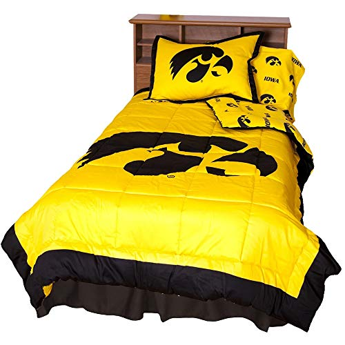 2 Pc NCAA University of Iowa Hawkeyes Comforter Twin Vibrant Box Stitch Design Team Logo Printed Basket Ball Boys Bedding Trendy Sports Patterned Look Soft Lightweight Reversible Yellow Comforter Set