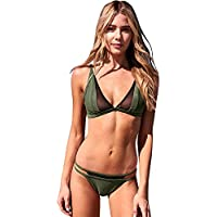 ZOMUSA Hot Sale Womens Green Halter Print Low Waisted Swimsuit Bathing Suits Bikini (Green, M)