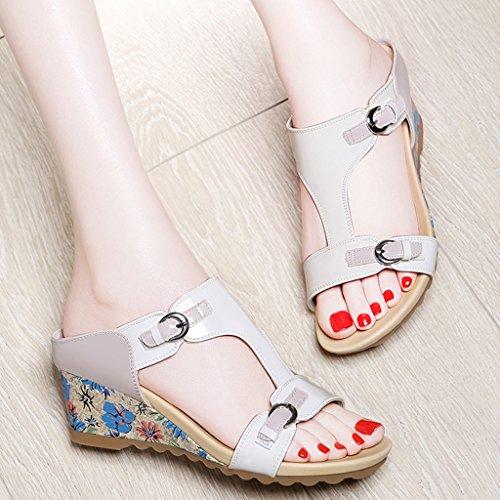 Sandals PU Upper Vamp Slope Rubber Sole Female Mid Heel Outer Wear Slippers 3 iQeemrf