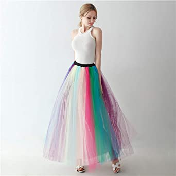 5e67917eb122a Noriviiq Women's Long Multi-Layer Tulle Rainbow Tutu Petticoat Skirt for  Dance Party style1 at Amazon Women's Clothing store: