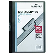 Durable Vinyl DuraClip Report Cover with Clip, Letter, Holds 60 Pages, Clear/Black (2214-BK)