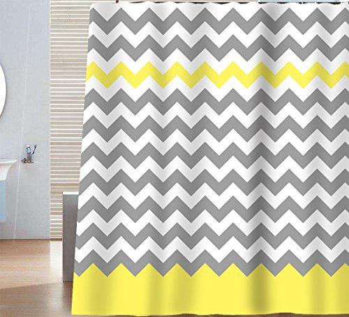 Gray White Chevron Pattern (Sunlit Zigzag Yellow and Gray White Chevron Shower Curtain. Geometric Print Pattern Lines and Contemporary Stripes Modern Design Prined Fabric Bathroom Decor. Light Grey Lemon Color Block Hem)