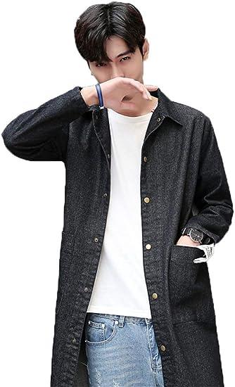 [ユケ二ー]メンズ デニム ロングコート おしゃれ 通勤 カジュアル ロング丈 デニムジャケット gジャン ロングシャツ