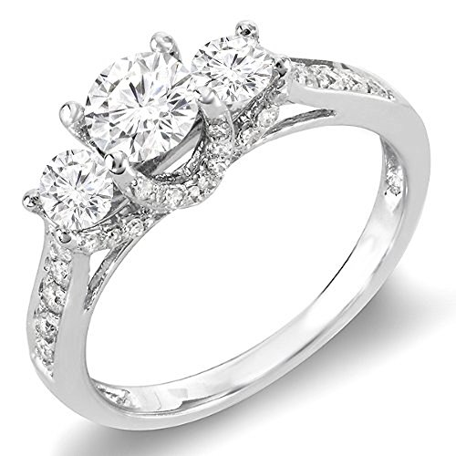 Dazzlingrock Collection 0.98 Carat (ctw) 14K Round Diamond 3 Stone Vintage Bridal Engagement Ring 1 CT, White Gold, Size ()