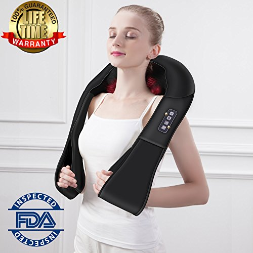 Shiatsu Back Shoulder Neck Massager with Heat Deep Kneading Electric Massage for Neck, Back, Shoulder, Waist and Legs, Use at Home, Car, Office