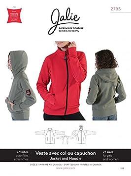 a013165f955 Jalie 2795 Patron de couture pour femmes et enfants Sweat à capuche avec  fermeture Éclair