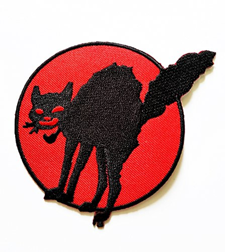 HHO Black Cat Halloween Patch Embroidered DIY Patches, Cute Applique Sew Iron on Kids Craft Patch for Bags Jackets Jeans Clothes -