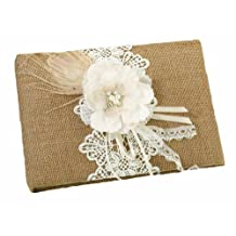 Lillian Rose Rustic Country Burlap Lace Wedding Guest Book