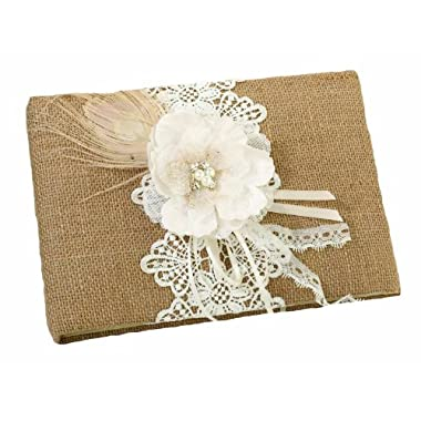 Lillian Rose Burlap and Lace Guest Book, 10-Inch