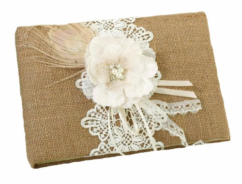 Lillian Rose Rustic Country Burlap Lace Wedding Guest (Lace Wedding Guest Book)