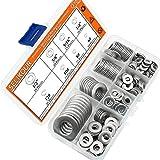 SELIKOUR 270Pcs 8 Sizes Stainless Steel Flat Washers Assortment Kit, 1/2 3/8 5/16 1/4 12# 10# 8# 6#