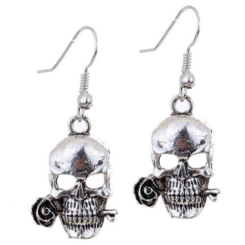 YAZILIND Punk Cool Hollow Skull Rose Design Ear Wire Hook Dangle Earrings (Dangle Skull)