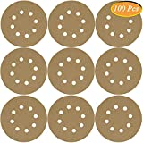 #8: Sandpaper, GOH DODD 100 Pieces Wet Dry Sanding Discs 5 Inch 8 Holes Hook & Loop 220 Grit Sander Sheets For Car Paint Refinishing, Woodworking or Metal Sanding and Polishing, Yellow