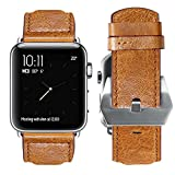 FanTEK Band for Apple Watch, Vintage Genuine Leather Band Strap Sport Edition Replacement Wristband Classic Metal Buckle with Connectors for iWatch 38mm Version Series 1 Series 2 Series 3, Khaki