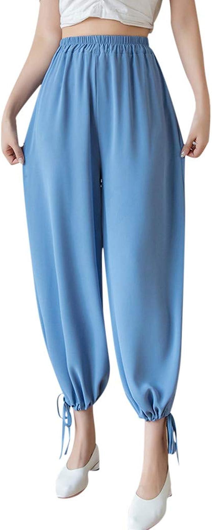 BOBOLover Pantalones de Gasa para Mujer Cintura Alta Falda de ...