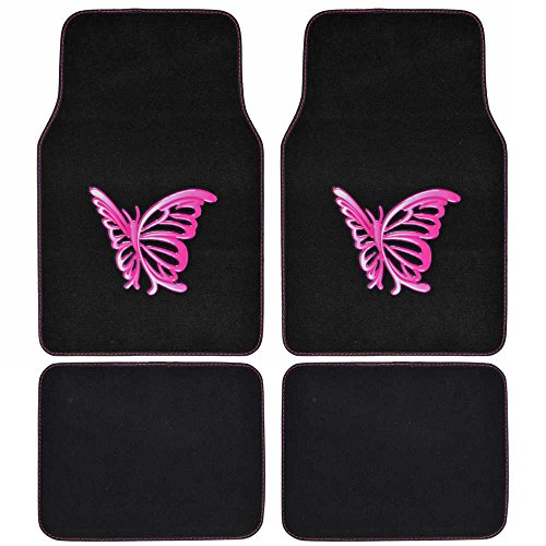 (BDK Universal Fit 4-Piece Carpet Floor Mat Set - (Pink Butterfly Design) (Licensed Products, Auto Accessory))