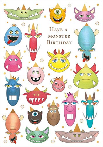 Quire Monsters with Gold Foil Birthday Hats Birthday Card for Kids