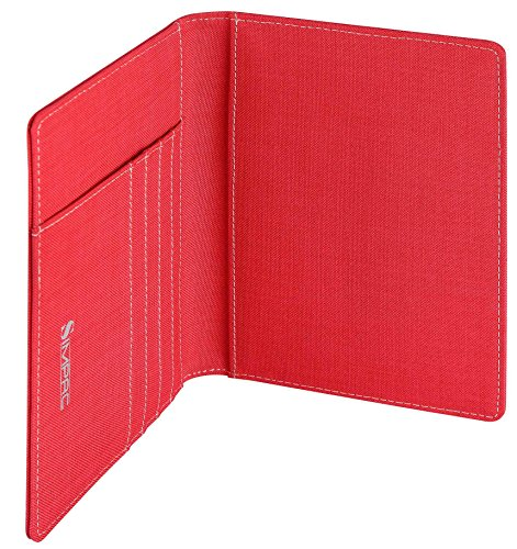 SimpacX Fabric Passport Holder Wallet Cover Case RFID Blocking Travel Wallet (holder plus tag red) by SimpacX (Image #4)