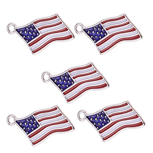 SM SunniMix 5PCS USA American Flag Alloy Enamel Charms Pendant Patriotic Jewelry Findings ()