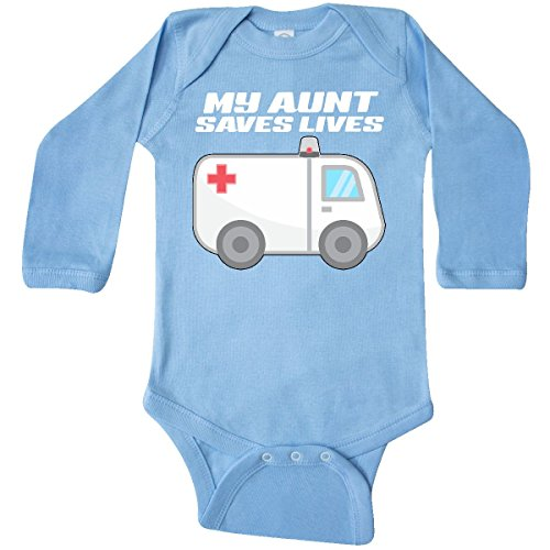 inktastic - My Aunt Saves Lives- Long Sleeve Creeper 6 Months Light Blue -