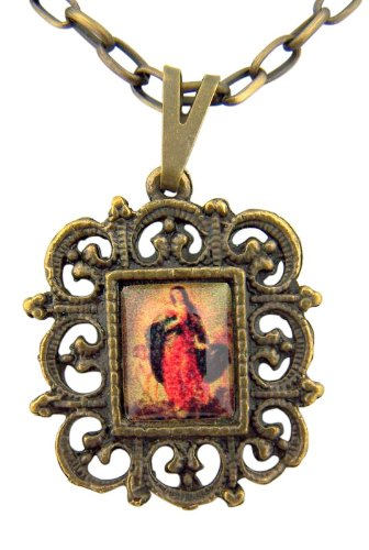 Immaculate Conception Marian Icon 1 Inch Bronzed Base Medal on 18 Inch Chain ()
