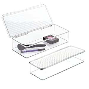 """mDesign Makeup Storage Organizer Box for Bathroom Vanity, Countertops, Drawers - Holds Blenders, Eyeshadow Palettes, Lipstick, Lip Gloss, Makeup Brushes - Hinged Lid, 3"""" high - 2 Pack - Clear"""