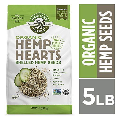 Manitoba Harvest Organic Hemp Hearts Raw Shelled Hemp Seeds, 5lb; with 10g Protein & 12g Omegas per Serving, Non-GMO, Gluten - 5 Lbs Organic