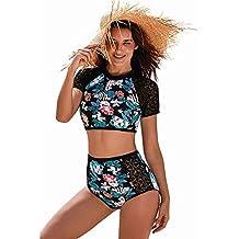 Women's Floral One Piece Rash Guard Swimsuit Sun Protection,Black,XL
