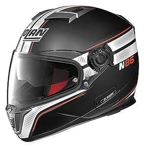 Nolan N-86 Rapid N-Com Helmet , Distinct Name: Metallic Flat Black/White, Gender: Mens/Unisex, Helmet Category: Street, Helmet Type: Full-face Helmets, Primary Color: Black, Size: 2XL N8R5273330258