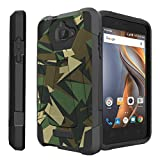 Coolpad Catalyst black Case| Catalyst (MetroPCS and T-Mobile)[Traveler Series] Shell Defender with Built in Kickstand, Two Piece Hybrid Case by Untouchble - Green Camo