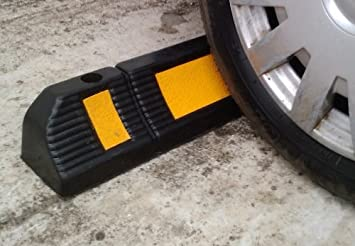 Pack of 2 Blocks Car Wheels as Parking Aid and Stops the Tires 23.6x4.7x3.9 Parking Stopper for Garage Floor acting as Rubber Parking Curbs that Protect Vehicle Bumpers and Garage Walls