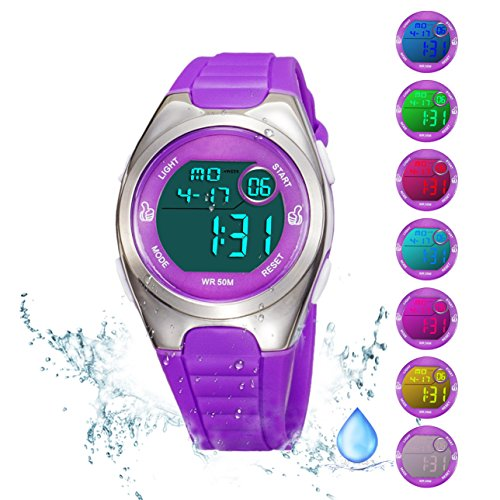 Kids Digital Sport Watch Outdoor Waterproof Watch with Alarm for Child Boy Girls Gift LED Kids Watch (7 Colors LED Purple)