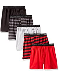 Hanes Boys' Exposed Elastic Knit Boxer Assorted Solids L Hanes Boys' Exposed