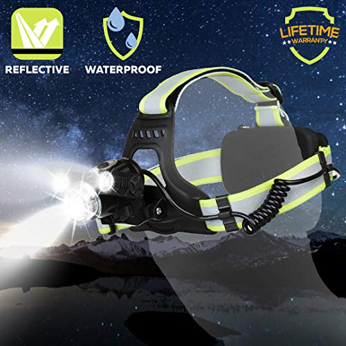 Custom Led Flashlights (Rechargeable Headlamp LED Rechargeable Headlight-Cireau Brightest 6000 Lumen USB Rechargeable Headlamp Best Headlamp Flashlight for Bicycle Camping Running with 6 Red Light Green Reflective)