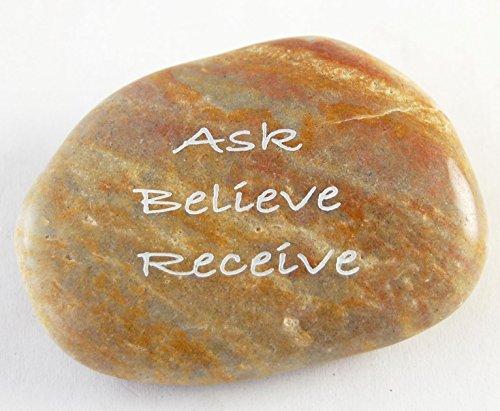 Ask Believe Receive Engraved River - Rocks Engraved River