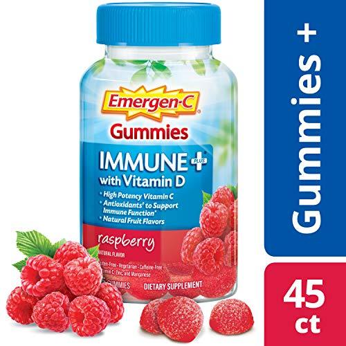 Emergen-C Immune+ Gummies (45Count, Raspberry Flavor) Immune System Support with 500mg Vitamin C Dietary Supplement, Caffeine Free, Gluten Free